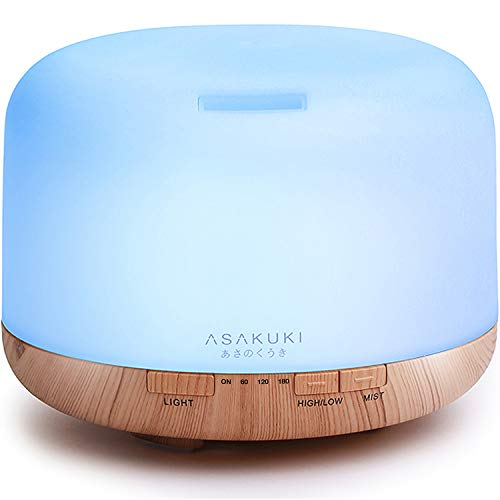 ASAKUKI 500ml Premium, Essential Oil Diffuser, 5 In 1 Ultrasonic Aromatherapy Fragrant Oil Humidifier Vaporizer, Timer and Auto-Off Safety Switch, 7 LED Light - Scented Oil Bottle Essential 12