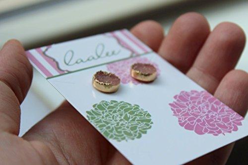 Blush Druzy Stud Earrings Gold Plated Pink Rose Drusy Post Earrings