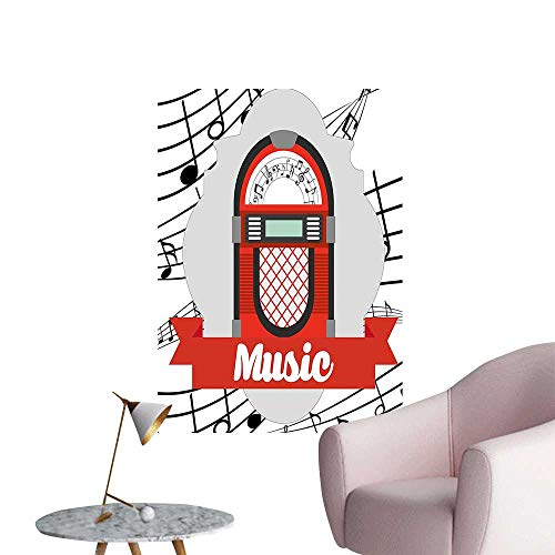 Vinyl Wall Stickers Vintage Music Radio Box Cartoon Image with Notes Artwork Print Red Grey Black Perfectly Decorated,28