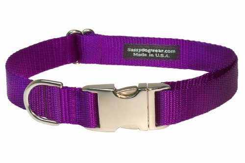 (Sassy Dog Wear 13-20-Inch Purple Nylon/Aluminum Buckles Dog Collar, Medium)