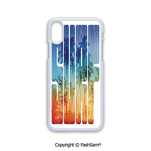 e with iPhone X Black Edge Summer Surf Retro Letters That Reflect The Seacoast with Palm Tree Extreme Sports Art 2D Print Hard Plastic Phone Case ()