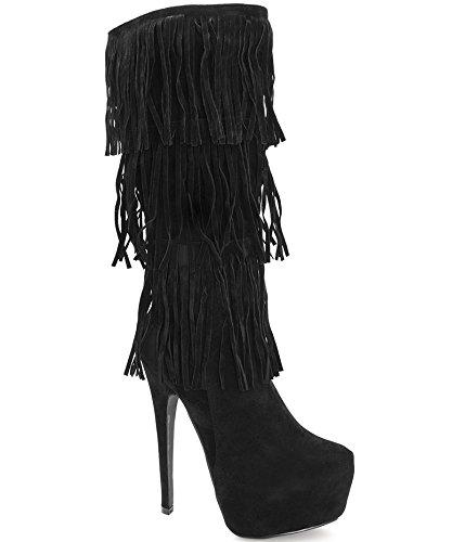 rivenditore online 3db5e 30409 Alexoo scarpe da donna Stivali al ginocchio con frange Mimas ...