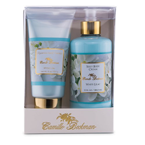 Camille Beckman Hand and Body Duet Set, Silky Body and Glycerine Hand Cream, White Lilac