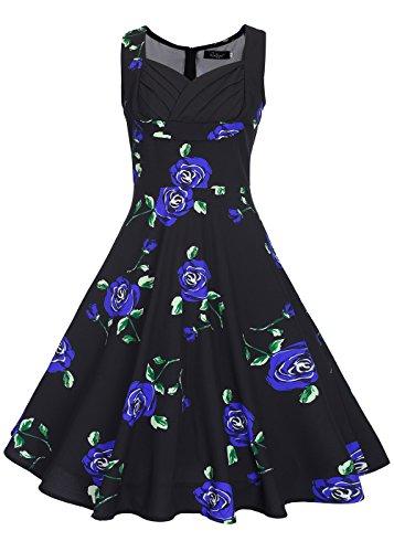 Las mujeres de la vendimia de impresión floral partido cuello en V sin mangas swing vestido vestido de cóctel Sin mangas - Impresión Flor Negro / Azul