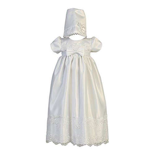 Lito Baby Girls White Satin Embroidered Lace Bow Christening Gown 6-12M