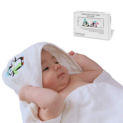Crystal Baby Smile Extra Large Bamboo Hooded Bath Towel for Newborn Baby, Infant or Toddler - Ultra Soft and Highly Absorbent - Perfect Baby Shower Gift Idea - Unisex White Color for Boys or Girls