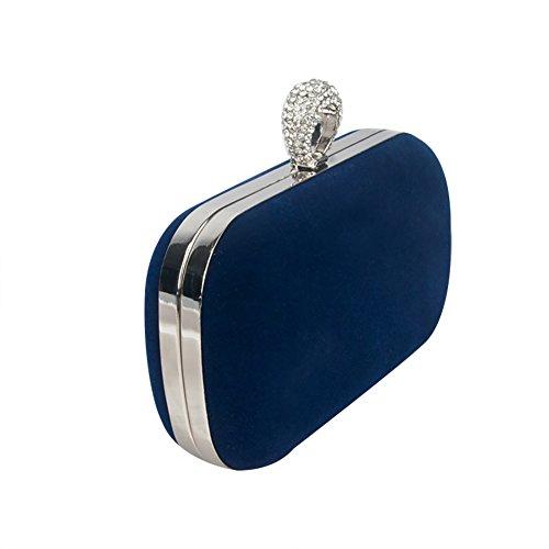 Da.Wa Bolso de mano para mujer, pequeño, satén, para fiestas, bodas, cumpleaños, raso, Rojo, 16*4.5*9cm Azul