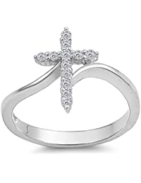 CHOOSE YOUR COLOR Sterling Silver Cross Ring
