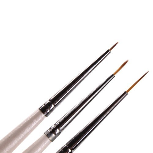 Set of 3 Professional Sable Nail Art Drawing Painting Pen Brush Detailer Liner Striper Tools (Markers Sable)