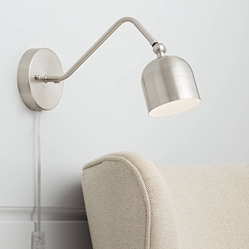 Byers Brushed Nickel Angled Arm Pin-Up LED Wall Lamp - 360 Lighting -