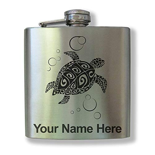 - Stainless Steel Flask, Hawaiian Sea Turtle, Personalized Engraving Included