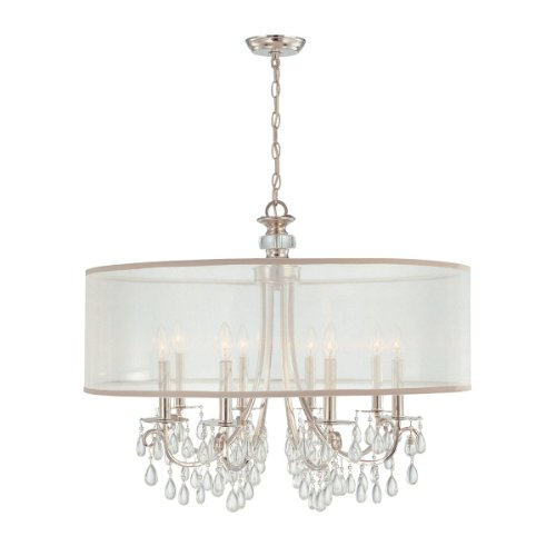 Crystorama 5628-CH Crystal Accents Eight Light Chandeliers from Hampton collection in Chrome, Pol. Nckl.finish,