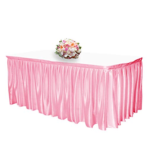 JINSEY 14 ft Shimmer Polyester Table Skirt for Rectangle Tables Ruffle Table Cloth for Wedding, Party, Hotel - Pink -