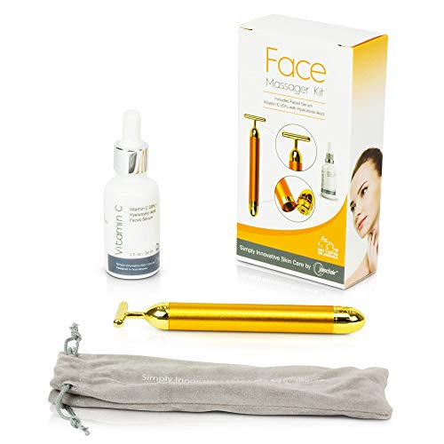 Face Massager Roller Kit with Facial Serum - 24K Gold Plated Beauty Bar Skin Care Massage Therapy Tool - Firms, Tightens Look and Reduces Look of Dark Eye Circles, Fine Lines, Wrinkles + FREE E-Book