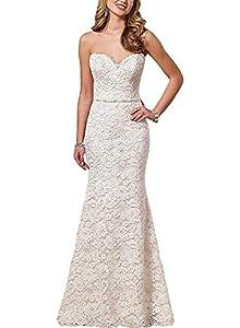 Eldecey Women's Lace Beach Wedding Dress Long Boho Floor Length Bridal Gown