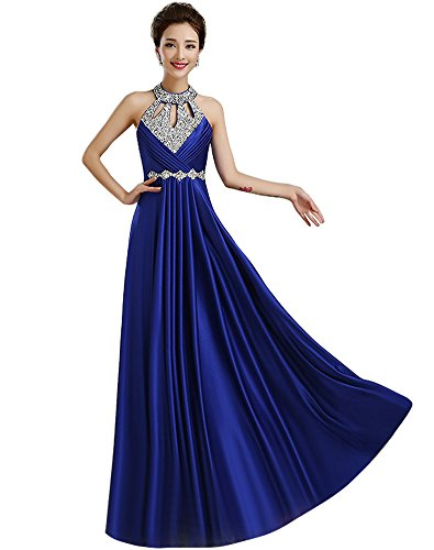 Corset Prom Dresses 2016 - Erosebridal Halter Corset Back Beaded Prom Dress 2016 US16 Blue