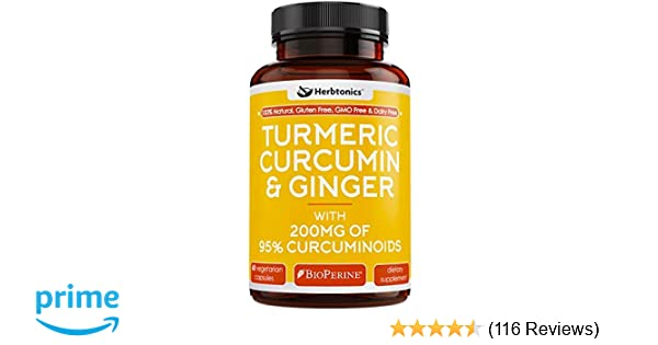 Amazon com: Organic Turmeric Curcumin and Ginger Capsules 1400mg