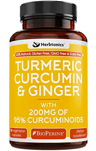 (Organic Turmeric Curcumin and Ginger Capsules 1400mg with Black Pepper (Bioperine) l Joint Pain Relief Supplement, Anti-Inflammatory, Antioxidant 100% Natural- Tumeric Ginger.)