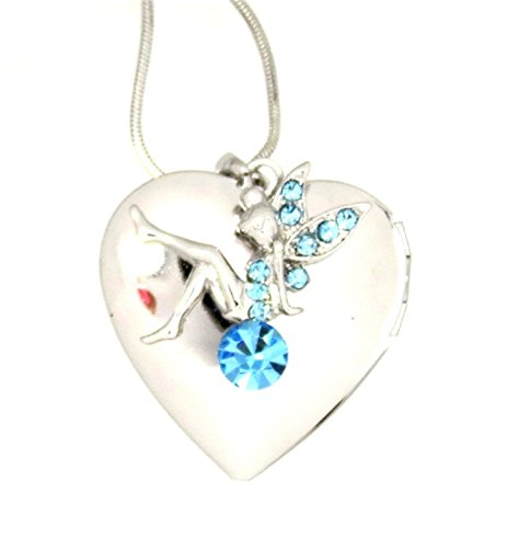 - Sparkleshop New Enchanting Fairy Heart Locket Pendant Necklace Gift Boxed Blue Tinkerbell