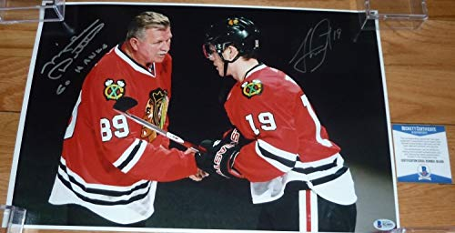 Beckett-Bas Mike Ditka & Jonathan Toews Autographed Signed Autograph 12X18 Photo B24091