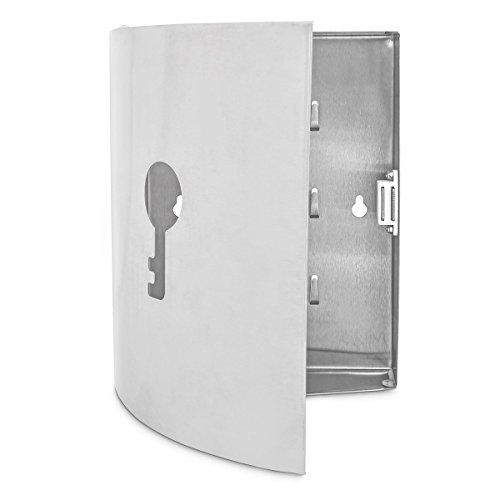 Relaxdays 10018520 Schlüsselkasten Edelstahl, 23 x 20 x 6 cm, silber / grau