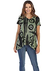 Jess & Jane Womens Short Sleeve High Low Slinky Knit Tunic Top