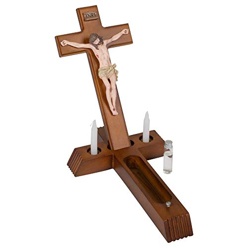- Sick Call 8.5 x 14 Resin Wall Crucifix With Candles And Mini Bottle, 4-Piece Set