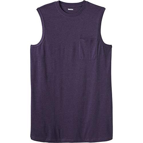 KingSize Men's Big & Tall Longer-Length Lightweight Muscle Tee, Heather Dark Purple Tall-6XL (La Kings Clothing)