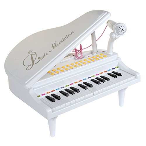BAOLI 31 Key Small Toy Piano White with Microphone for Boys and Girls