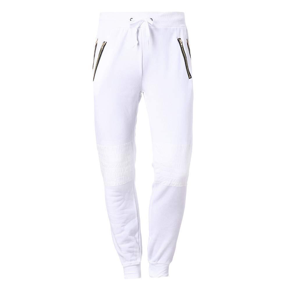 YanHoo Pantalones de chándal Ocasionales del algodón de Patchwork del Remiendo de la Cremallera de los Hombres de la Moda Pantalones de Jogging Camuflaje ...
