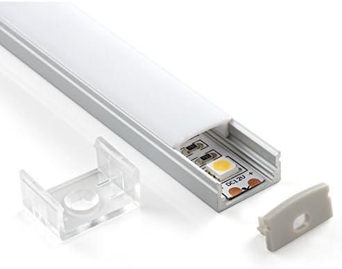 embouts et fixations de montage 5 BARRE DA 2 MT avec diffuseur opaque Pianeta-Led TL1205 Lot de 2 Profil/és en aluminium de 2/m de long pour rubans /à LED 10 MT Cover Trasparente