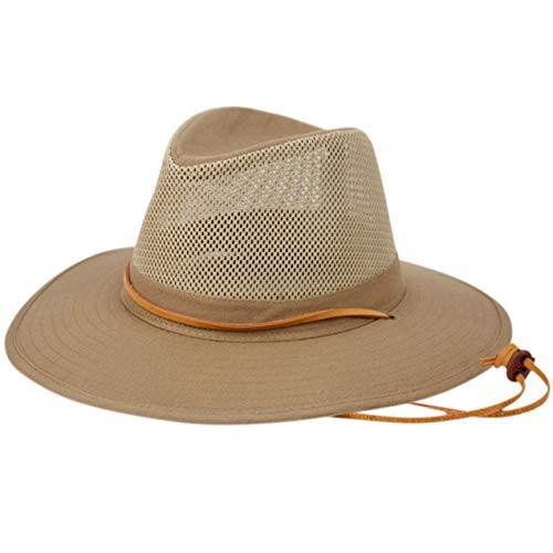 Elysiumland Unisex Safari Sun Bucket Hat with A Montana Crease and Breathable Mesh Crown - Dawstring - 100% Quik-Dry Nylon - 50 UPF-UV Sun Protection - Large/X-Large (Khaki)