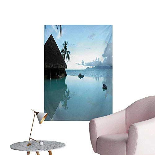 Anzhutwelve Landscape Mural Decoration Rock Pool Part of The Sea Mystical Serene Nature with Old Wooden House SceneryBlue Brown W24 xL32 Funny Poster