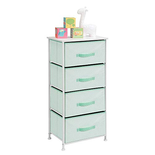 mDesign Vertical Dresser Storage Tower - Sturdy Steel Frame, Wood Top, Easy Pull Fabric Bins - Organizer Unit for Child/Kids Bedroom or Nursery - Chevron Zig-Zag Print - 4 Drawers - Mint Green/White