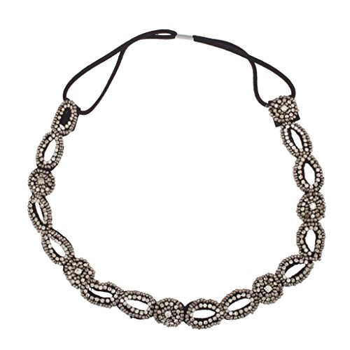 Lux Accessories Seed Bead & Rhinstone Stretch Fit Beaded Headband Head Piece