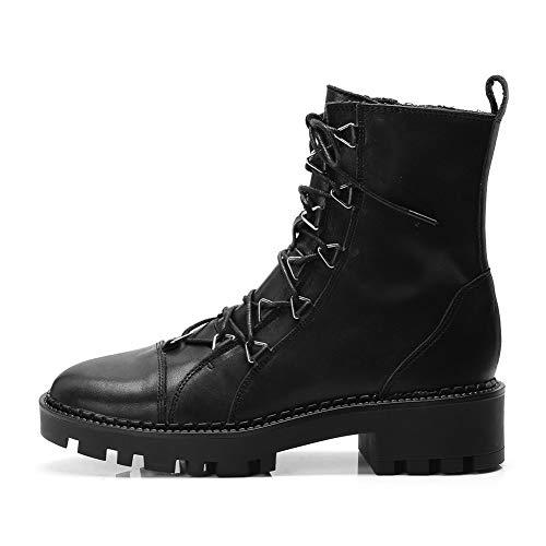 De Tobillo Zapatos Up Botas 40 34 Vaca Martin Lace Mujer Cuero Black Hoesczs Grande 2018 Tamaño Genuino 4ZEw1qx