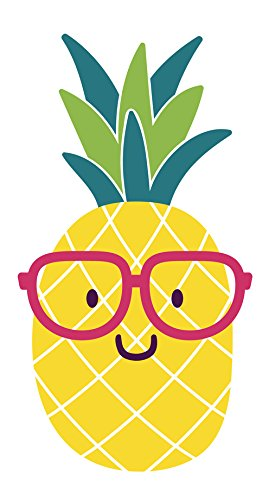 Pineapple summer. Adorable nerdy emoji with