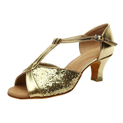 (Esharing Women's T-Strap Glitter Ballroom Heels Shoes Waltz Latin Dance Party Sandals (6.5 W US, Gold))