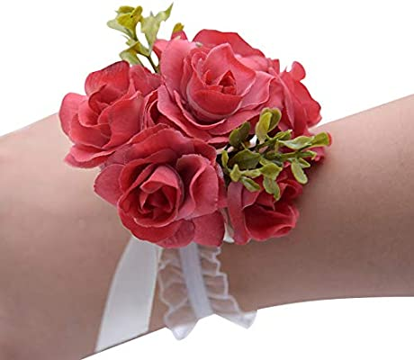 Women's Bridal Accessories Wedding Wrist Corsage for Flower Girls  Homecoming Prom Sister of Bride Flowers for Special Occasion, Pack of 6:  Buy Online at Best Price in UAE - Amazon.ae