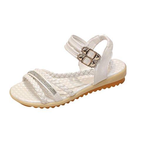 bescita Frauen Mode Sommer Hang mit Flip Flops Sandalen Slipper Schuhe (39, Weiß)
