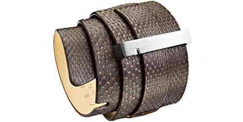 Ursul Bracelet Spartiate mixte en cuir d'Ayer, acier poli, chocolat