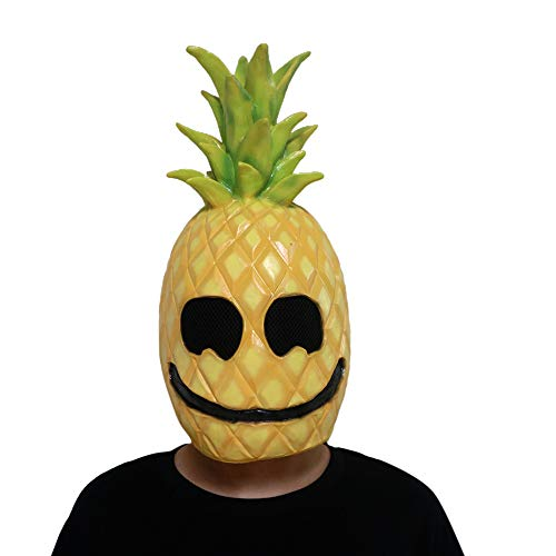 MostaShow Pineapple Man Mask Halloween Latex Full Headgear Easter Cosplay Costume Masquerade Masks Festival Party Supplies