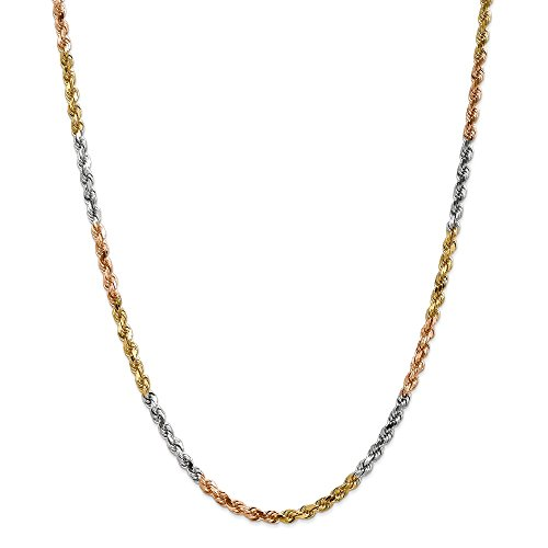 (14K Tri-Color Gold 4mm Diamond Cut Rope Chain 18 IN)