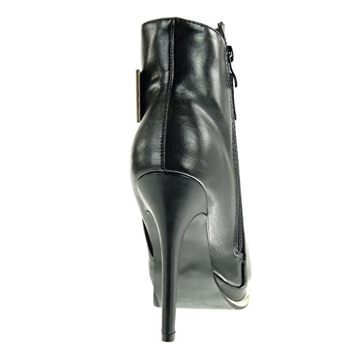 Angkorly Mode Sexy Stiletto Boucle Plateforme Chaussure Bottine dor Femme qZawrqB4n