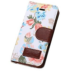 LHY Flower Pattern Full Body PU Leather Case with Card Slot for Samsung Galaxy S5 I9600 (Assorted Colors) , White