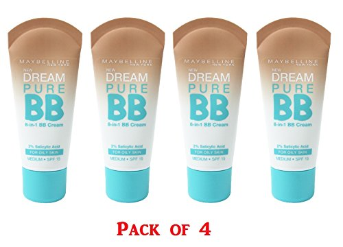 Maybelline New York Dream Pure BB Cream 8-in-1 Skin Clearing Perfector, Medium 1 oz (Pack of 4)