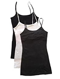 Zenana 3 Pack Women's Long Tank Top w/Adjustable Spaghetti Straps and Built in Bra