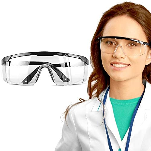 Safety Glasses, Locsee Wrap Around Lens Safety Goggles Protective Glasses Anti Fog Proof Protective Eyewear Adjustable Lightweight Eye Protection Glasses