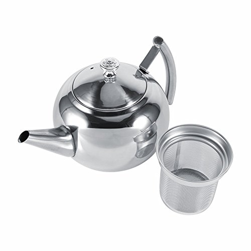 unbrand 1.5L Stainless Steel Kettle Kitchen Coffee Pot Restaurant Container Home Hotel Cafe Bar Water Jug with Filter Teapot by unbrand (Image #3)