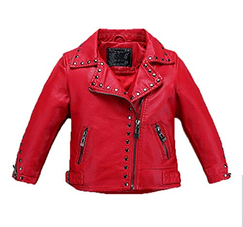 Girl's Biker Jacket faux leather Rivets Leather Motor